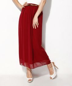 Love this Red Chiffon Belted Maxi Skirt by Scarlett on #zulily! #zulilyfinds