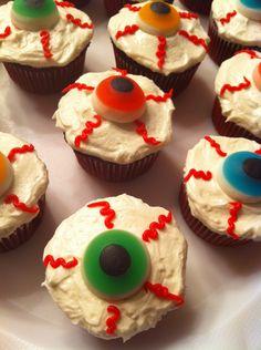 Bloodshot Eyeballs #Cupcake. Source: http://www.foodnetwork.com/recipes/sandra-lee/bloodshot-peanut-butter-eyeballs-recipe/index.html