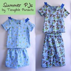 I sewed a couple pairs of summer pajamas for the little guy. Sewing Patterns For Kids, Sewing Projects For Kids, Sewing For Kids, Baby Sewing, Free Sewing, Clothing Patterns, Baby Patterns, Pyjamas, Pjs