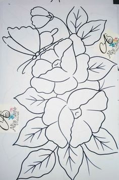 Flower Art Drawing, Flower Line Drawings, Baby Embroidery, Embroidery Patterns, Painting Patterns, Fabric Painting, Cute Bunny Cartoon, Love Coloring Pages, Mehndi Art Designs