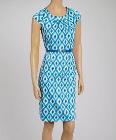 Blue Ikat Belted Sleeveless Dress by Joy Mark #zulily #zulilyfinds