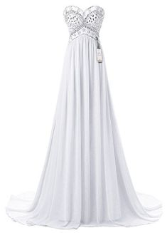 Eudolah Womens Empire Beading Sweetheart Long Chiffon PromEvening Dress White Size 14 * Want to know more, click on the image.