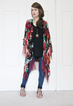 NEW tropical parrot print fringe kimono duster
