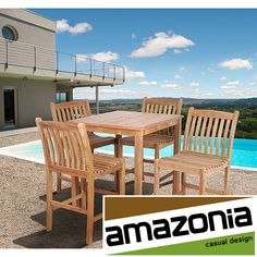 Enjoy a cocktail by the pool with this wood outdoor bar set. The four barstools allow you to invite a couple of friends over for a few drinks. The bar set is weather-resistant, so you wont have to worry about taking it in when the seasons change.