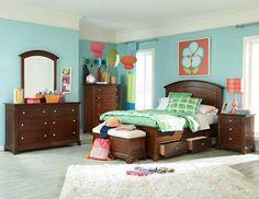 Impressions Wood 4pc Kids Bedroom Set WTwin Panel Underbed Storage Bed