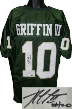 b5e67769ff9 Robert Griffin III signed Baylor Bears Green Custom Jersey- RG3 Hologram by Athlon  Sports Collectibles