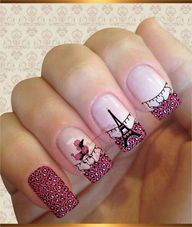 So cute Paris nails Beautiful Nail Art, Gorgeous Nails, Pretty Nails, Hot Nails, Hair And Nails, Nail Polish Designs, Nail Art Designs, Paris Nails, Modern Nails