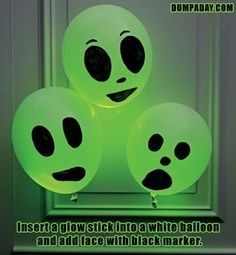 Fun Halloween Crafts With Glow Sticks – 8 Pics. White balloons, green glow sticks. Ideas for Carol.