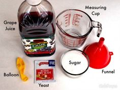 to Make Easy Homemade Wine (Red or White) Make delicious wine at home with these common and easily found ingredients.Make delicious wine at home with these common and easily found ingredients. Homemade Wine Recipes, Homemade Alcohol, Homemade Liquor, Homemade Wine Making, Homemade Whiskey, Making Wine At Home, Make Your Own Wine, How To Make Wine, Making Beer