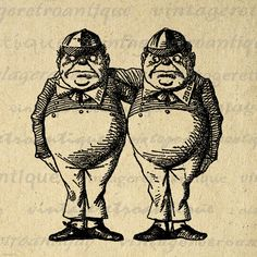 Printable Tweedledee and Tweedledum from Alice in Wonderland Digital Graphic Download Image. Printable digital illustration from antique artwork for fabric transfers, printing, and much more. This digital graphic is high quality and high resolution at size 8½ x 11 inches. Transparent background PNG version included.