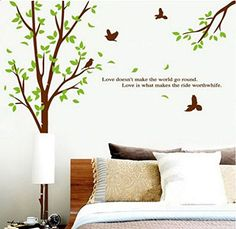 Perfect Sunnicy Wandtattoo Baum u V gel Natur Landschaft Wandsticker Wandbilder f r schlafzimmer Wohnzimmer Kindergarten Baby SUNNICY