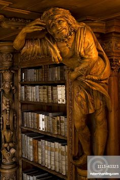 Buchhandlung Library in the monastery of Waldsassen, Upper Palatinate, Bavaria, Germany Brand name c Beautiful Library, Dream Library, Library Books, Old Libraries, Bookstores, Rococo Style, Reading Room, Book Nooks, Wood Art
