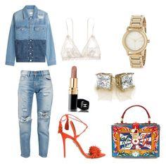 """Untitled #75"" by styledbytine on Polyvore featuring Levi's, Aquazzura, Dolce&Gabbana, SJYP, DKNY, Hanky Panky and Chanel"