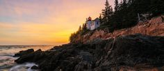 Acadia National Park is a magnificent location to capture beautiful and diverse photographs. Two of the best sunrise locations include Cadillac Mountain and Jordan Pond. The most popular sunset spot is definitely Bass Harbor Head Lighthouse – though be prepared for many other photographers during summer! The park is also a popular location for bird photography.