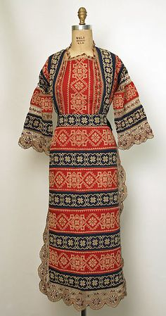 Ukrainian Ensemble ~ 1800-1945 ~ Cotton ground embroidered with red and blue cotton ~ Metropolitan Museum of Art