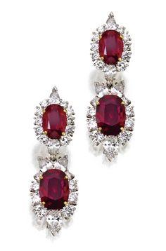 ruby and diamond earrings.: