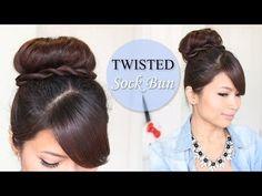 ▶ Twisted Sock Bun Updo Hairstyle | Long Hair Tutorial - YouTube