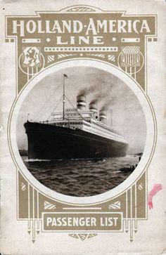 Passenger List, S.S. Rotterdam, Holland-America Line, April 1913, Rotterdam to New York
