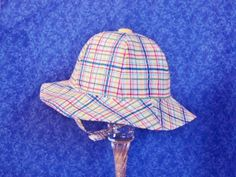 Plaid Baby Sunhat with Chin Straps Infant Sunhat Baby Beach Hat 6-12 months by AdorableandCute on Etsy