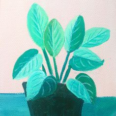 Plants on Pink No. 4 - an original acrylic painting, plants painted on a pink background door XantheCS op Etsy