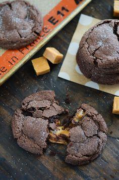 Chocolate Caramel Stuffed Cookies via www.thenovicechefblog.com
