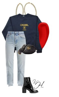 Outfits for school - Chanel sweater paired with Vetements jeans and Marc Jacobs boots. Accessorized with a Gucci fanny pack and crystal hoops !