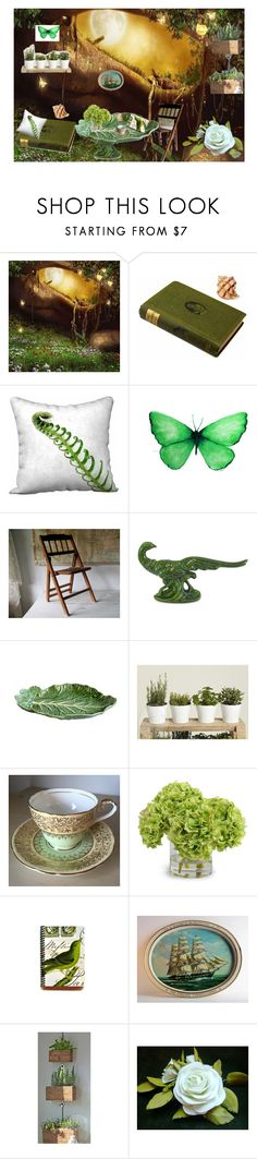 """Green Fairy House Decor"" by brianna-anzalone ❤ liked on Polyvore featuring interior, interiors, interior design, home, home decor, interior decorating, LINLEY, Bordallo Pinheiro and Aynsley"