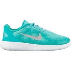 e319e57ce9d3 Nike Girls  Free RN 2 Running Shoes (Aurora Green Metallic Silver Clear