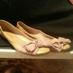 Shoes Gold flats with large Bow. Madden  Girl Shoes