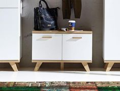 Oslo Germania contemporary oak and white shoe bench