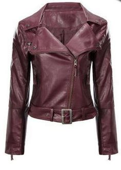 ♢Love this Color! Wine Red Faux Leather Biker Jacket with Belt