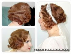 Vintage Hairstyles Fine Hair Fixes for a Deco Bride 1920s Hair Tutorial, Vintage Hairstyles Tutorial, Retro Hairstyles, Curled Hairstyles, Wedding Hairstyles, Hair And Makeup Tips, Hair Makeup, Curling Fine Hair, Look Vintage