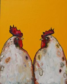 Two Roosters in Electric Tangerine