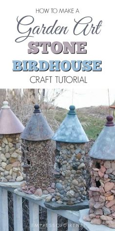 Wow, a way to recycle old oatmeal containers-Stone birdhouses are easy to make and, with the right materials, can be kept in the garden year-round. The trick is to use a sturdy wood birdhouse as the base, and attach stones with the right adhesive for a lasting bond. All the information is in this tutorial.