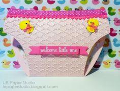 L.E. Paper Studio: Tuesday print and cut - Baby diaper invitation/card