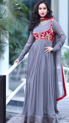 Long grey Anarkali with attached red jacket style : Long grey Anarkali with attached red jacket style Indian Designer Outfits, Indian Outfits, Designer Dresses, Mehndi Outfit, Indian Gowns, Pakistani Dresses, Indian Wear, Dressy Tops, Ethnic Fashion