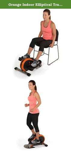 Orange Indoor Elliptical Trainer Machine Sport Fitness Exercise Cardio Workout Training Home Gym Stepper Machine Aerobic Climber Adjustable Tension Workout Intensity Electronic Fitness Monitor Display. Adjustable tension to control workout intensity level Compact elliptical machine foot pedals can be worked in a forward or reverse direction to target your lower body in different ways Electronic fitness monitor displays number of strides per minute, total number of strides, exercise time…