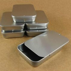 Large Silver Slide Top Metal Tin Boxes - Set of 6 Containers / 3 10/16 x 2 4/16 x 3/4 inch / Perfect for Gift Wrapping, Packaging & Favors