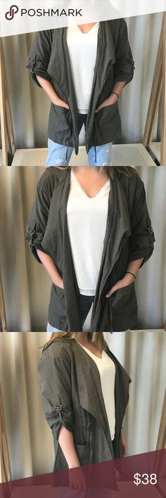 Audrey lightweight jacket Audrey olive green lightweight jacket. Hood, pockets, drawstring waist and adjustable sleeves. Very lightweight material. Pre-loved condition. Purchased from Nasty Gal. Audrey Jackets & Coats