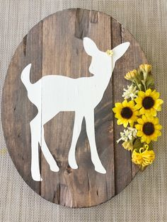 Oval Fawn Sign with Sunflower Arrangement, woodland decor, sunflower nursery, yellow nursery - Modern Deer Nursery, Baby Girl Nursery Themes, Yellow Nursery, Nursery Decor Boy, Nursery Ideas, Baby Decor, Sunflower Nursery, Sunflower Room, Sunflower Kitchen Decor