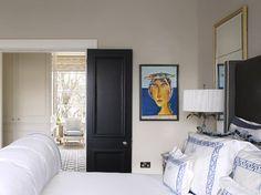 Raised Paneling on Black Interior Door, Greek Key Monogrammed Bedding