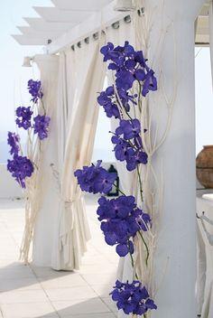blue flowers on white branches wrapped around pillars Bella Wedding, Purple Wedding, Wedding Colors, Wedding Flowers, Dream Wedding, Wedding Beach, Wedding Bouquet, Wedding Cake, Wedding Ceremony