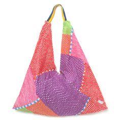 Furoshiki Tote Bag Dots & Stripes Rainbow : SOU • SOU US Online Store...LOVE these bags Origami Bag, Kantha Stitch, Linen Bag, Cute Bags, Crochet Fashion, Fabric Scraps, Hobo Bag, Purses And Bags, Reusable Tote Bags