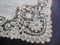 "Vtg FABULOUS Handmade Honiton Lace Wedding Hanky Handkerchief 13"" Square H80"