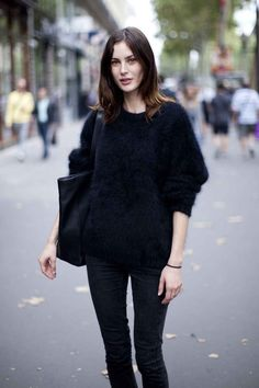 Winter, fall, black, sweater, hair
