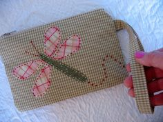 Dragonfly Applique Wristlet by YoursTrulyPurses on Etsy, $10.00