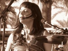 Janet Weiss drumming with Wild Flag at Coachella, 2012.