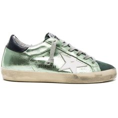 Golden Goose Leather Superstar Low ($570) ❤ liked on Polyvore featuring shoes, sneakers, distressed sneakers, golden goose, metallic sneakers, leather shoes and real leather shoes