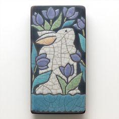 Rabbit Bunny  raku fired art tile for your by DavisVachon on Etsy, $39.00