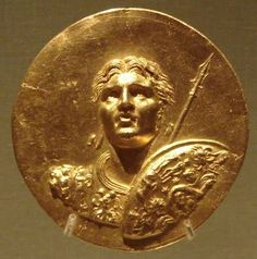 Roman gold medallion of Abukir, depicting the likeness of Alexander the Great. The Roman medallions of Abukir are all on the theme of Alexander the Great, and one bears an inscription relating it to the Olympic Games.
